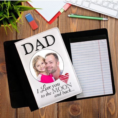 Personalised DAD / MUM 'I Love you to the moon and back' PHOTO Notepad Notebook with paper N2